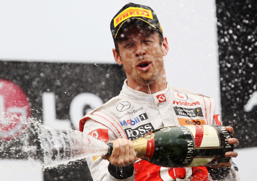Jenson Button celebrates victory
