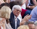 Bernie Ecclestone sits in the audience of German television show 'Wetten, dass..?' to watch Sebastian Vettel interviewed