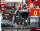 The exposed sidepod of Fernando Alonso's Ferrari