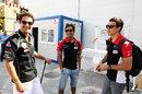 F1 reserve drivers Bruno Senna, Sakon Yamamoto and Robert Wickens in the paddock