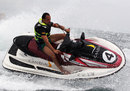 Tonio Liuzzi banks hard on a jetski off the coast of Valencia