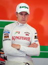 Nico Hulkenberg contemplates his morning in the Force India