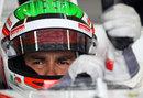 Sergio Perez prepares for a practice run
