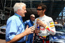 Charlie Whiting talks to Mark Webber before the race