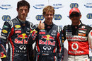 Sebastian Vettel celebrates his pole position ahead of Mark Webber and Lewis Hamilton