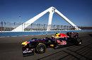 Mark Webber crosses the bridge