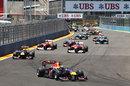 Sebastian Vettel extends his lead on lap one