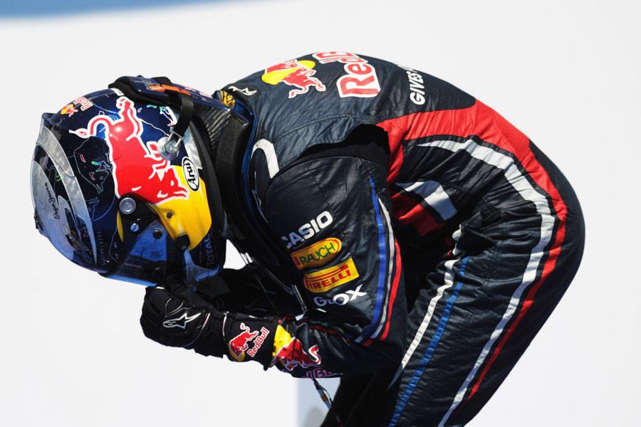 Sebastian Vettel celebrates victory