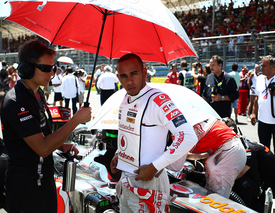 Lewis Hamilton collects his thoughts ahead of the start of the race