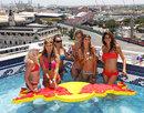 Girls at the Red Bull pool party