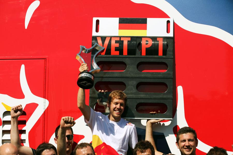 Sebastian Vettel celebrates victory in Valencia