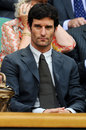 Mark Webber watches Andy Murray on Centre Court at Wimbledon on Monday