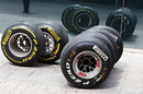 Used tyres in the Valencia paddock
