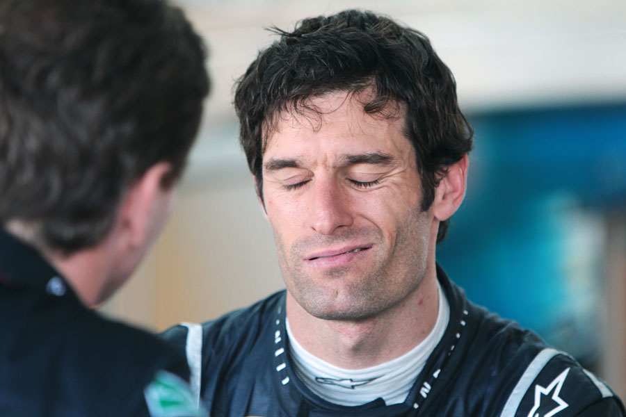 Mark Webber during a post-race debrief