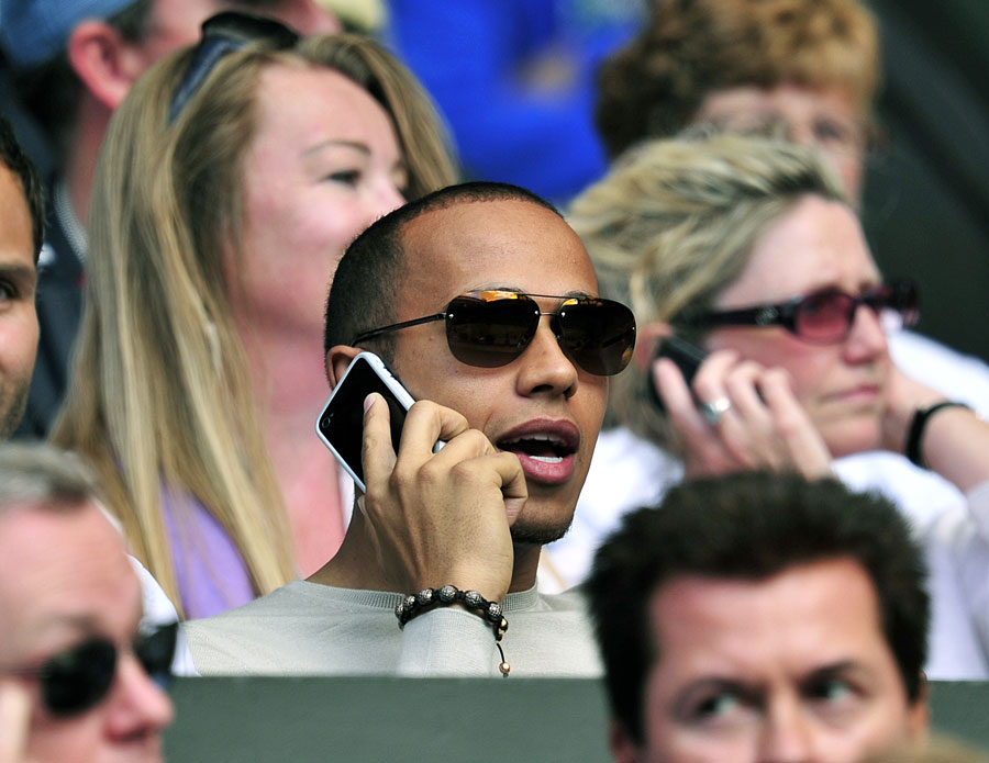 Lewis Hamilton on Centre Court at Wimbledon