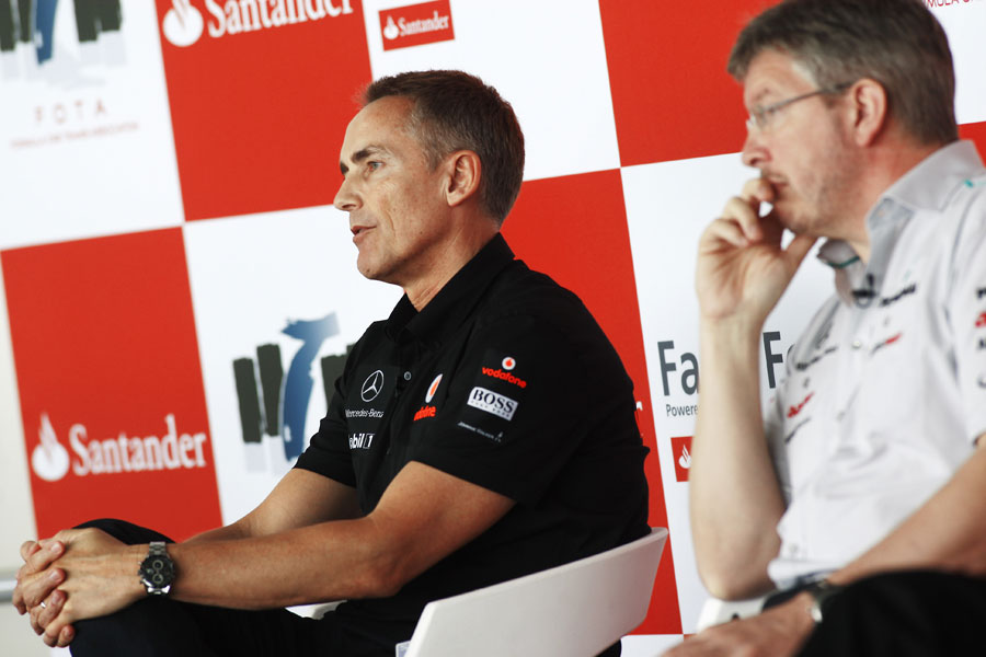 Martin Whitmarsh and Ross Brawn answer questions from fans at the FOTA Fans' Forum
