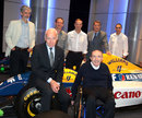 Williams drivers old and current join Bernard Rey and Sir Frank Williams at the announcement of a new Renault engine deal