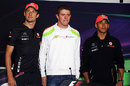 Jenson Button, Paul di Resta and Lewis Hamilton pose in the drivers' press conference