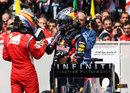Sebastian Vettel congratulates Fernando Alonso in parc ferme