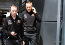 McLaren's Paddy Lowe and Martin Whitmarsh leave race control after a meeting of the Technical Working Group about exhaust blown diffusers