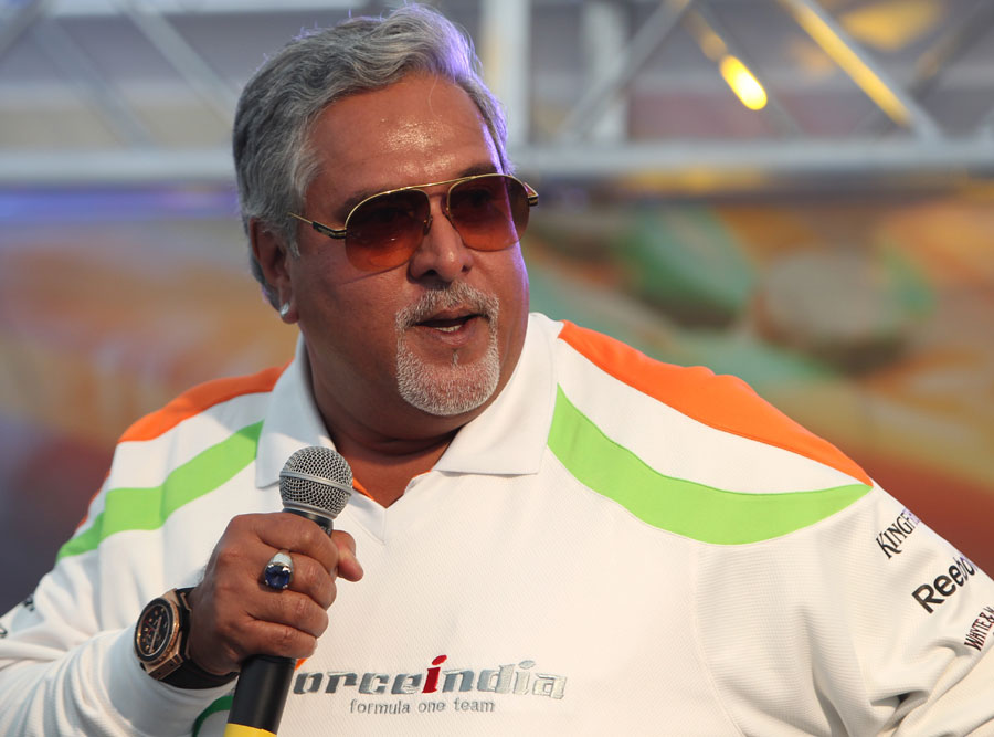 Vijay Mallya on stage at an afterparty