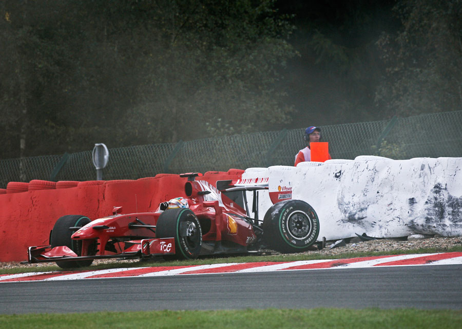 Luca Badoer's Ferrari comes to a rest after an accident during qualifying