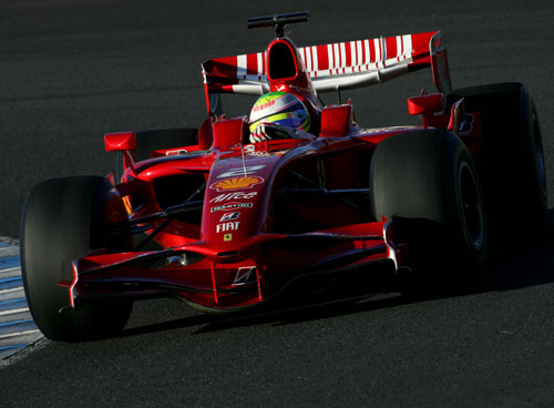 Felipe Massa tested a Ferrari on 2009-spec tyres