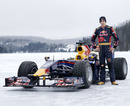 Sebastien Buemi drove a Red Bull on a frozen lake