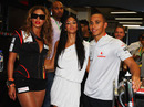 Lewis Hamilton, girlfriend Nicole Scherzinger, and singer Beyonce Knowles