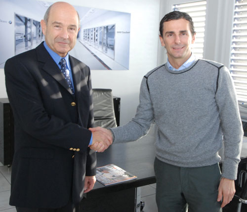Pedro de la Rosa meets his new team principal Peter Sauber