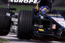 Fernando Alonso pushes his Minardi to the limit