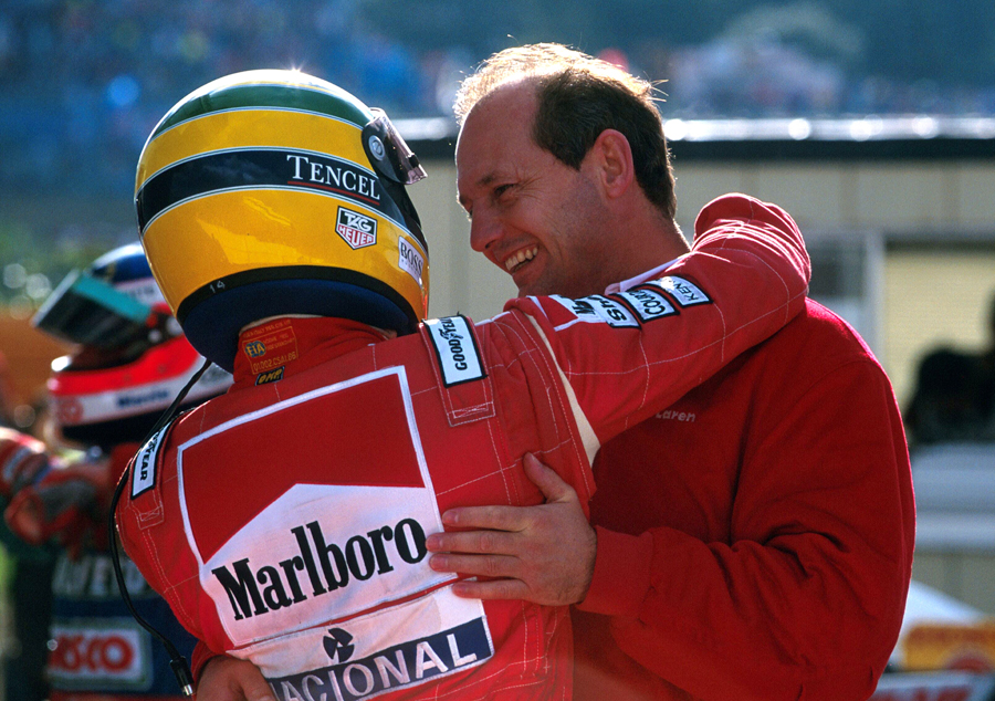 Ron Dennis congratulates Ayrton Senna on his victory at Suzuka