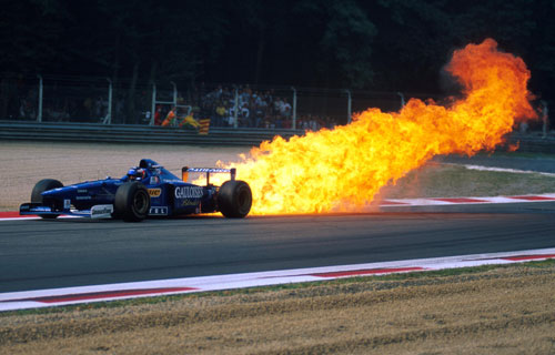 The Honda engine in Jarno Trulli's Prost blows up spectacularly