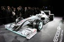 Mercedes GP shows off its new livery on the old Brawn car, the new car will appear for the first time in Valencia on February 1