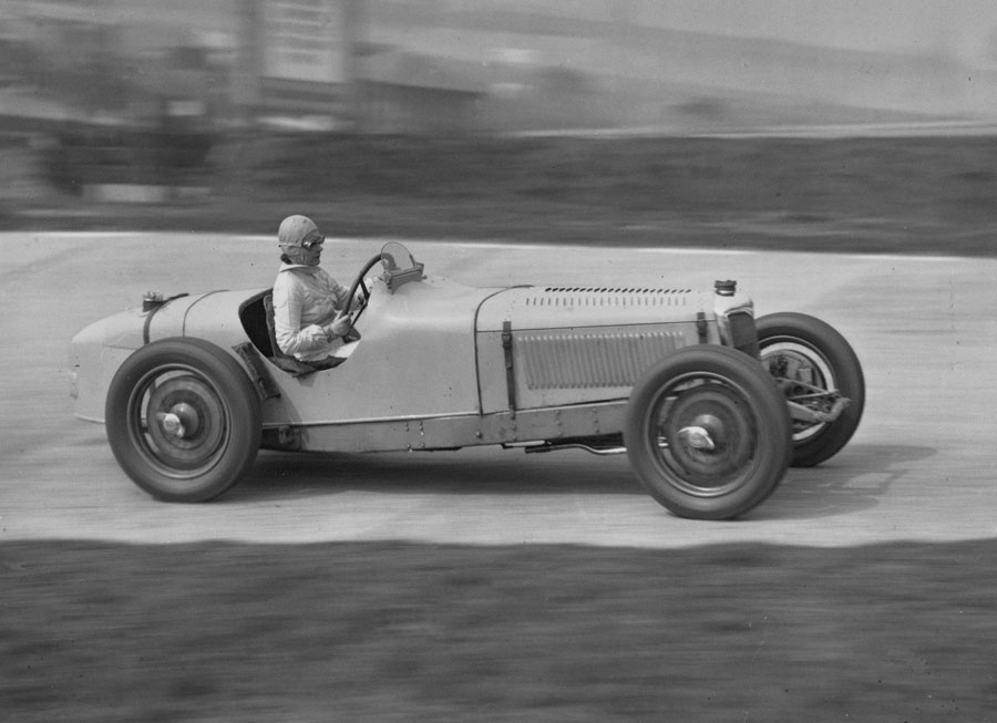 Kay Petre driving her supercharged 12hp Riley at Brooklands for the first time after being seriously injured in a race