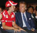 Fernando Alonso and Luca di Montezemolo chat during the Ferrari World Design Contest at the team's factory in Maranello