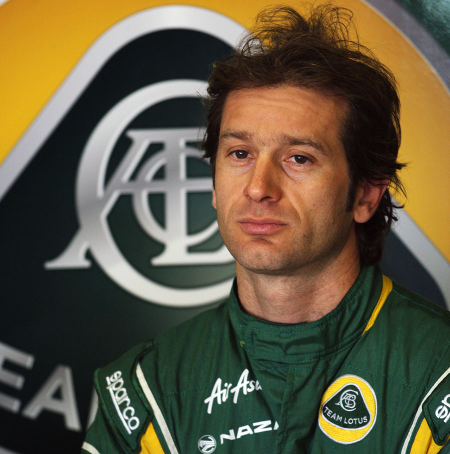 Jarno Trulli at the back of the garage