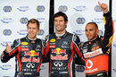 Mark Webber celebrates his pole position with Lewis Hamilton and Sebastian Vettel
