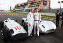 David Coulthard and Mika Hakkinen prepare to demonstrate some classic Mercedes grand prix cars ahead of the race
