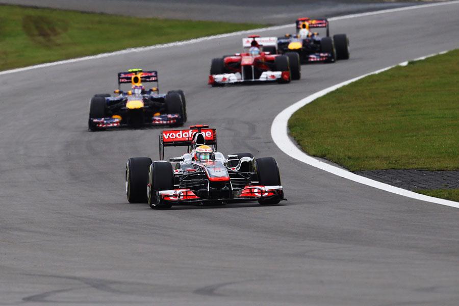 Lewis Hamilton leads Mark Webber, Fernando Alonso and Sebastian Vettel