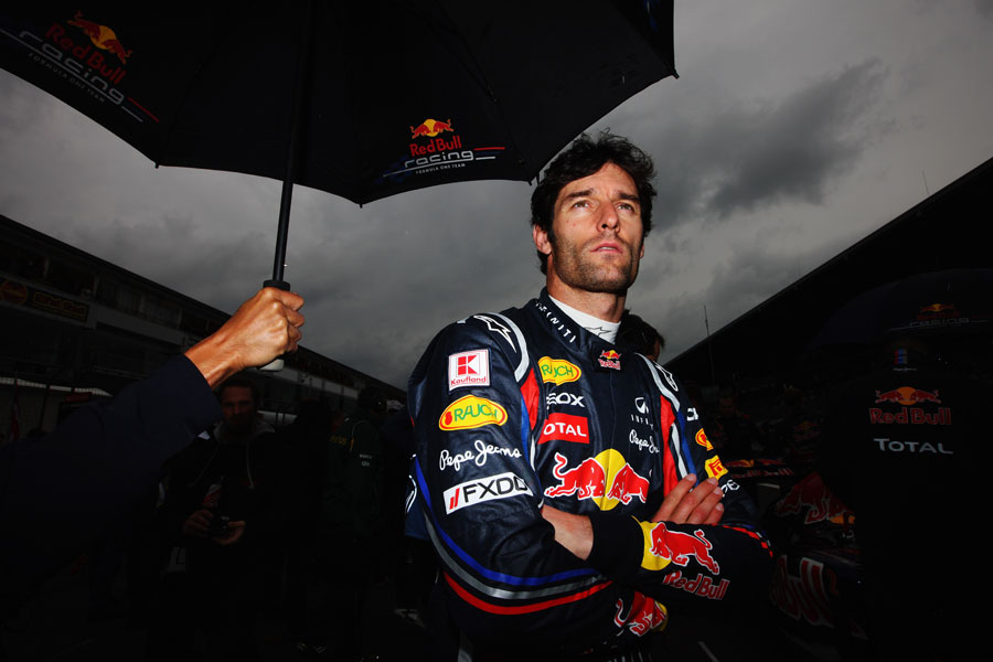 Mark Webber focuses before the start of the race