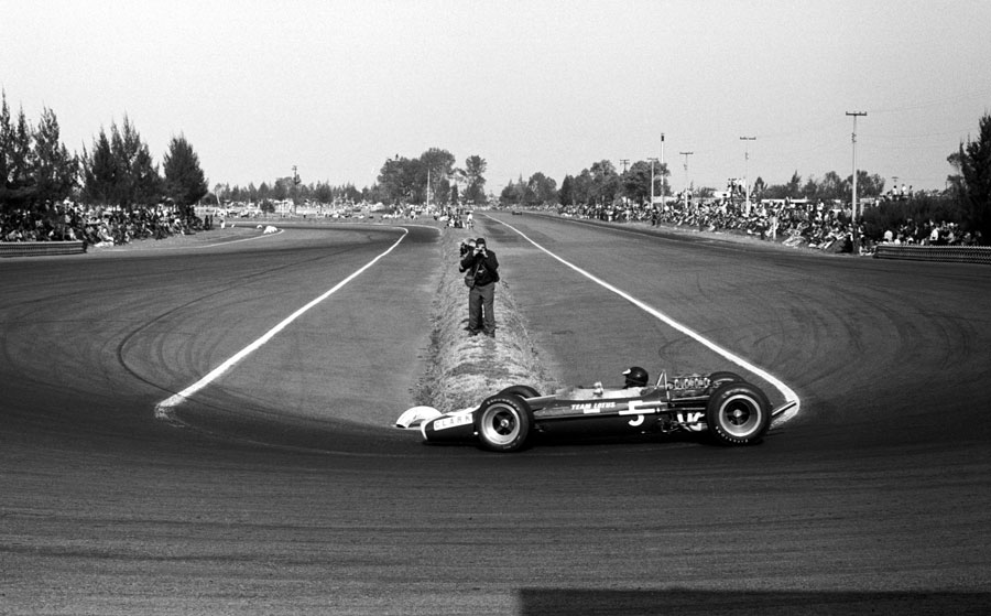 Jim Clark rounds the hairpin on his way to victory