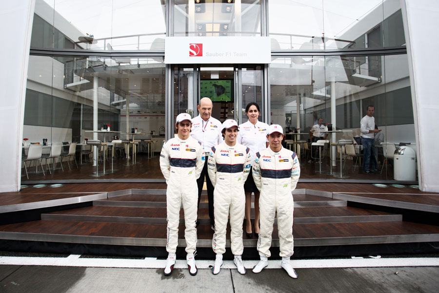 Peter Sauber and Monisha Kaltenborn pose with their confirmed drivers for 2012