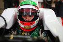 Sergio Perez in the cockpit of the Sauber
