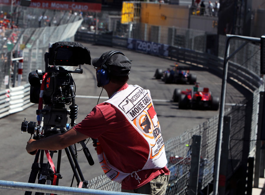 A cameraman tracks the lead battle