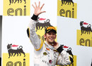 Romain Grosjean celebrates his fifth victory of the season