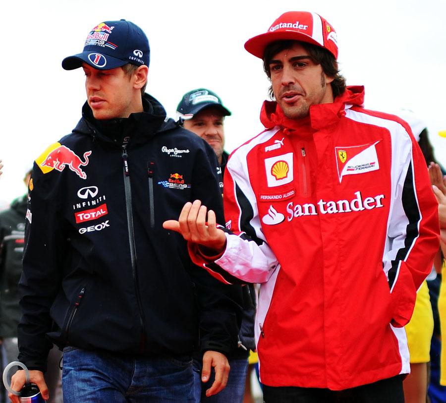 Sebastian Vettel and Fernando Alonso ahead of the drivers' parade