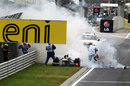 Nick Heidfeld's Renault explodes after catching fire, Hungarian Grand Prix, Budapest, July 31, 2011