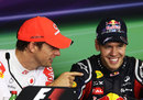Jenson Button jokes with Sebastian Vettel in the drivers press conference, Hungarian Grand Prix, Budapest, July 31, 2011