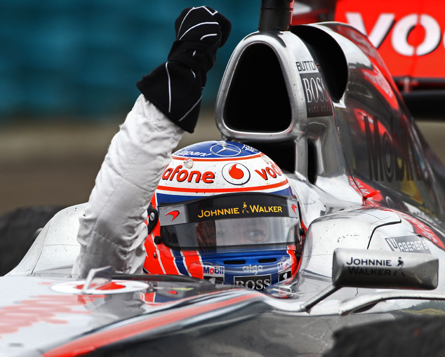 Jenson Button celebrates his second win of the season